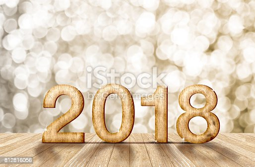 istock 2018 new year wood number in perspective room with sparkling bokeh wall and wooden plank floor,leave space for adding your content 812816056