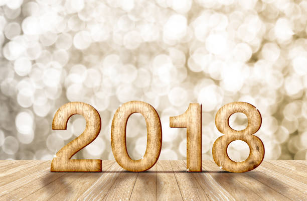 2018 new year wood number in perspective room with sparkling bokeh wall and wooden plank floor,leave space for adding your content stock photo