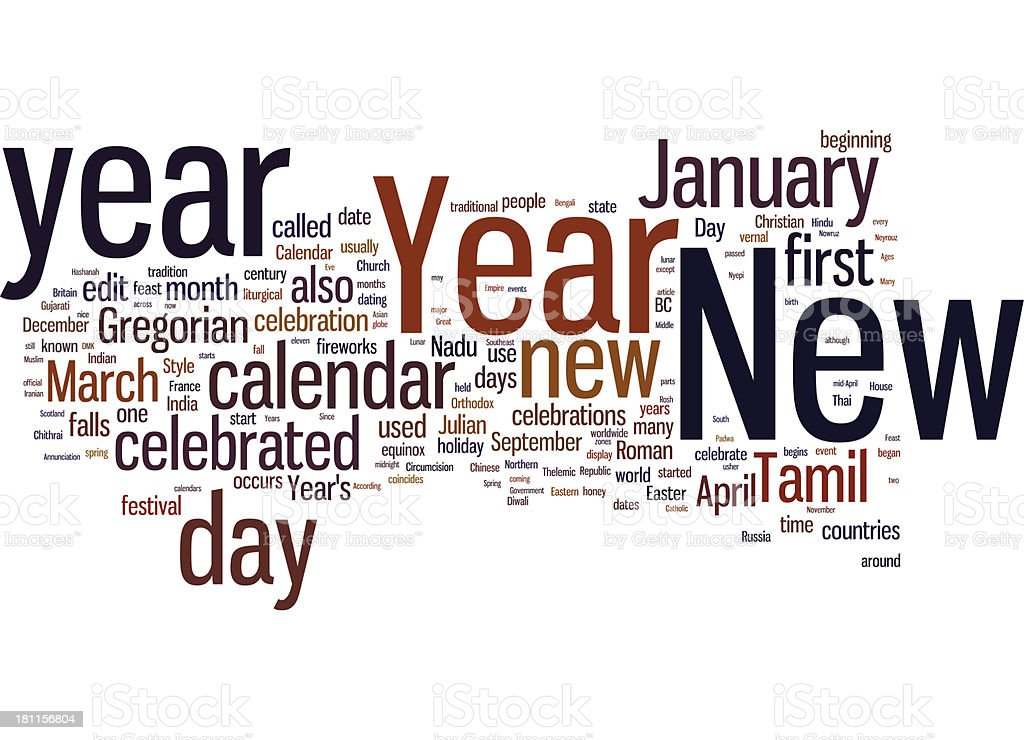New Year word cloud royalty-free stock photo