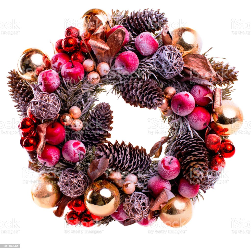 new year wreath isolated in white stock photo