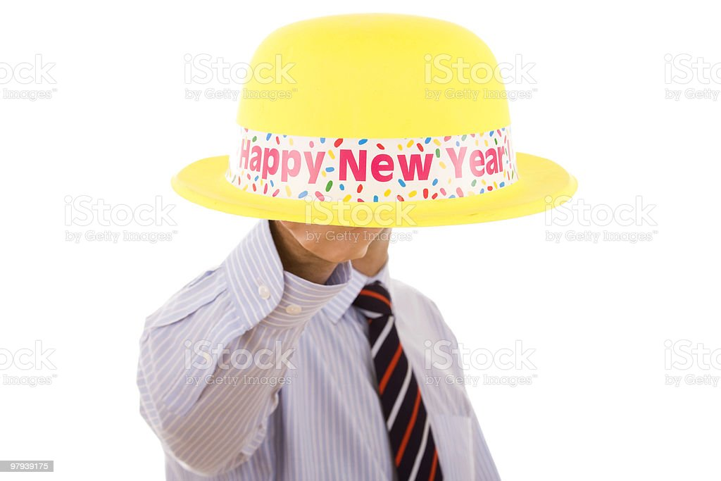 new year yellow hat royalty-free stock photo