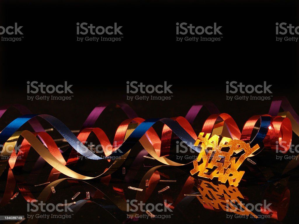 New Year's celebration with confetti background stock photo