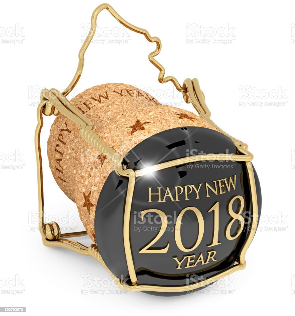 2018 New Year's Champagne bottle stopper stock photo