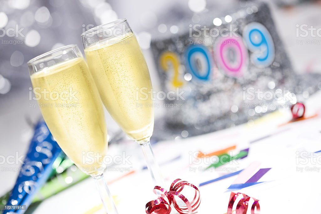 2009 New Year's Champagne Flutes, Top Hat, and Party Favors royalty-free stock photo