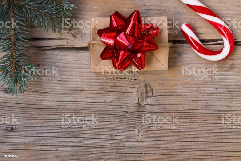 New Year's, Christmas, homemade, gift box, Candy canes, copy space, top  view - Stock image .