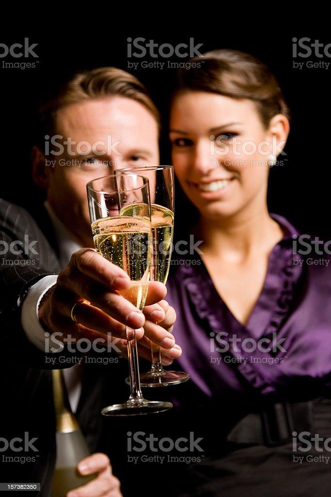 new year's couple stock photo