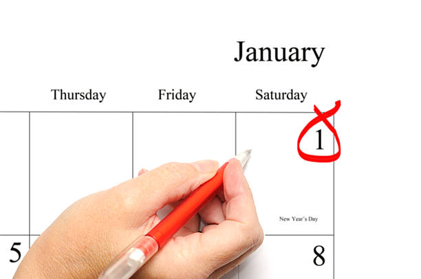 new year's day calendar entry stock photo