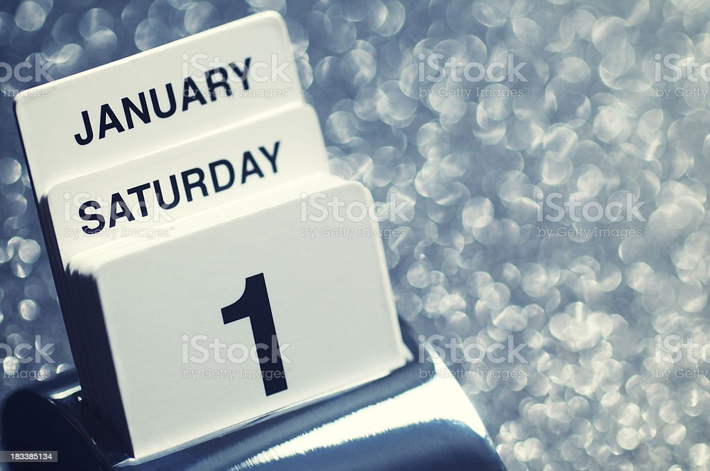 New Year's Day Calendar with Copy Space royalty-free stock photo