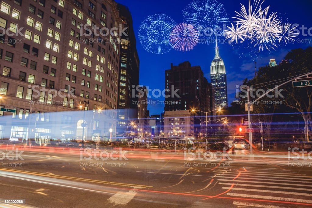 New Year's day fireworks and celebrations in New York stock photo