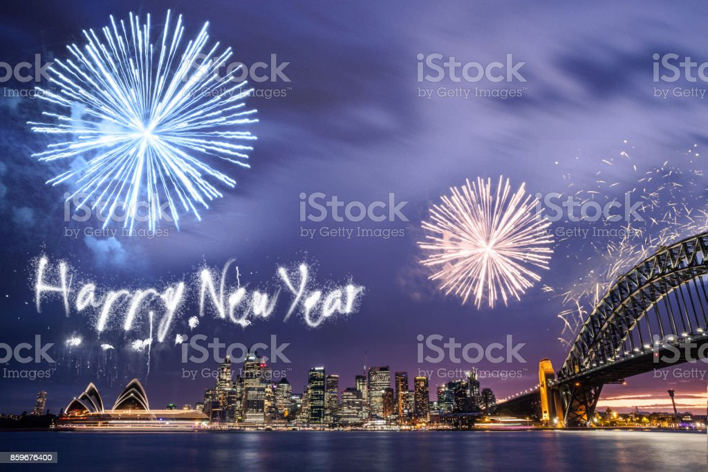 New Year's day fireworks and celebrations in Sydney stock photo