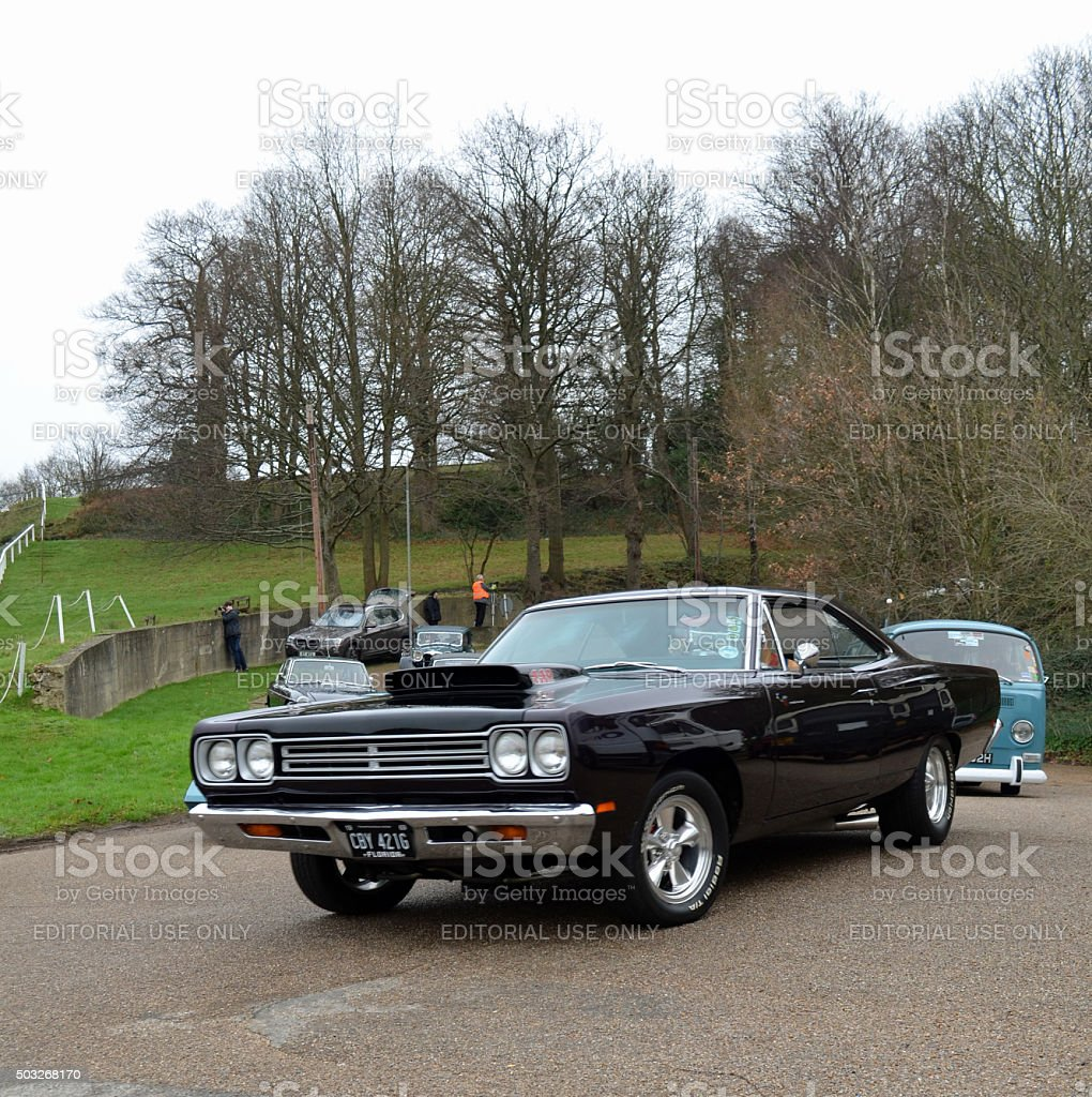 New Years Day Gathering Of Classic Cars At Brooklands Stock Photo