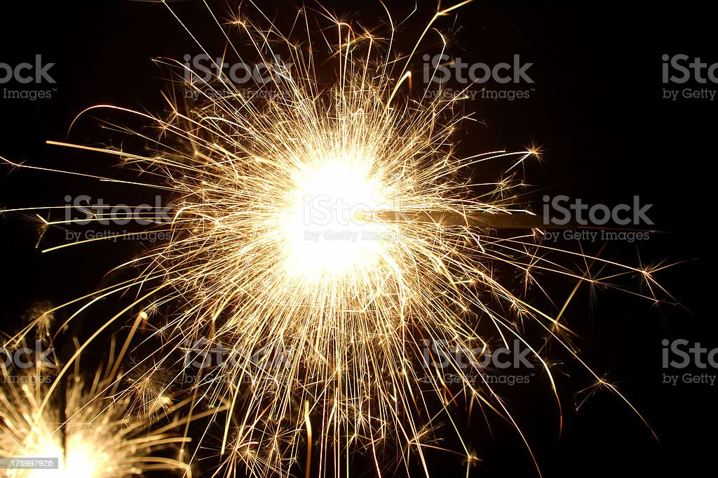 new years day sparklers royalty-free stock photo