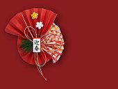 新年の装飾、赤色の背景