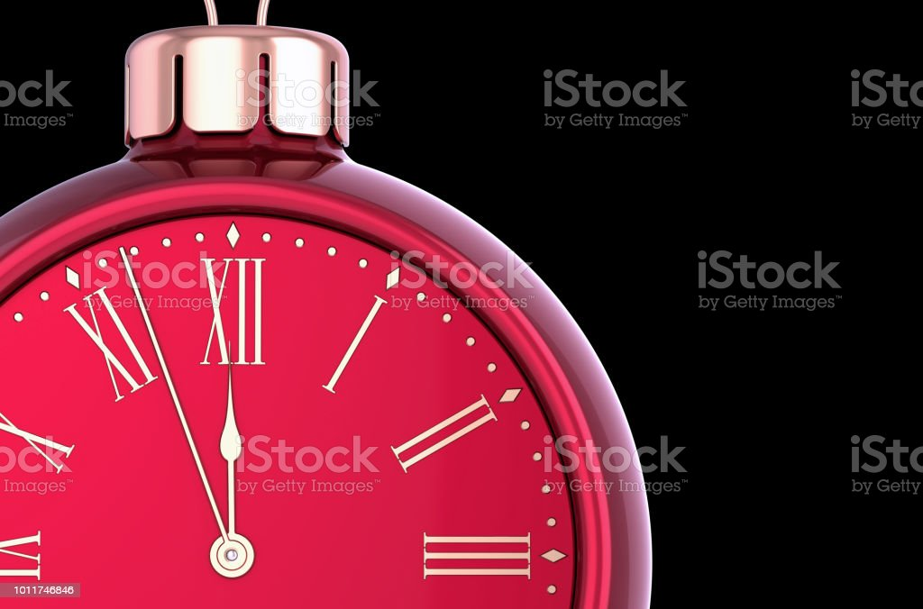 New Years Eve alarm clock face countdown bauble red. Christmas ball...