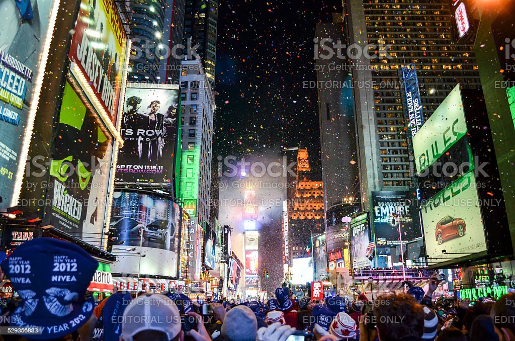 New Years Eve Ball Drop in Time Square stock photo
