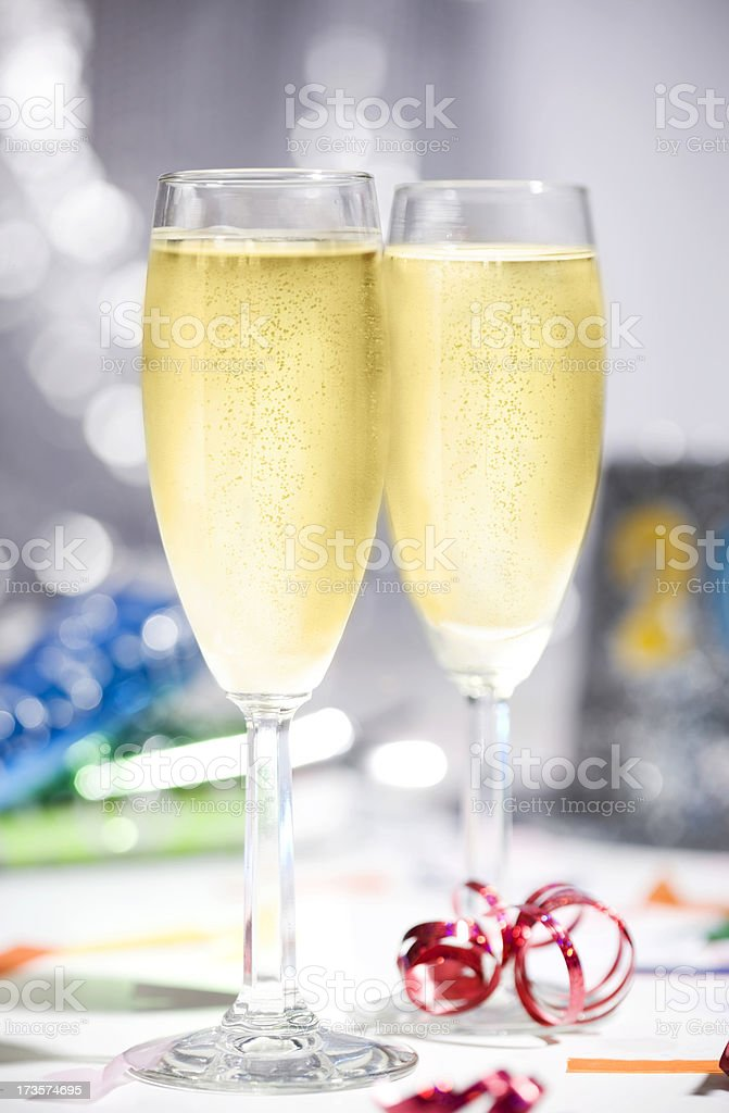 2012 New Year's Eve Champagne Flutes, Copy Space stock photo