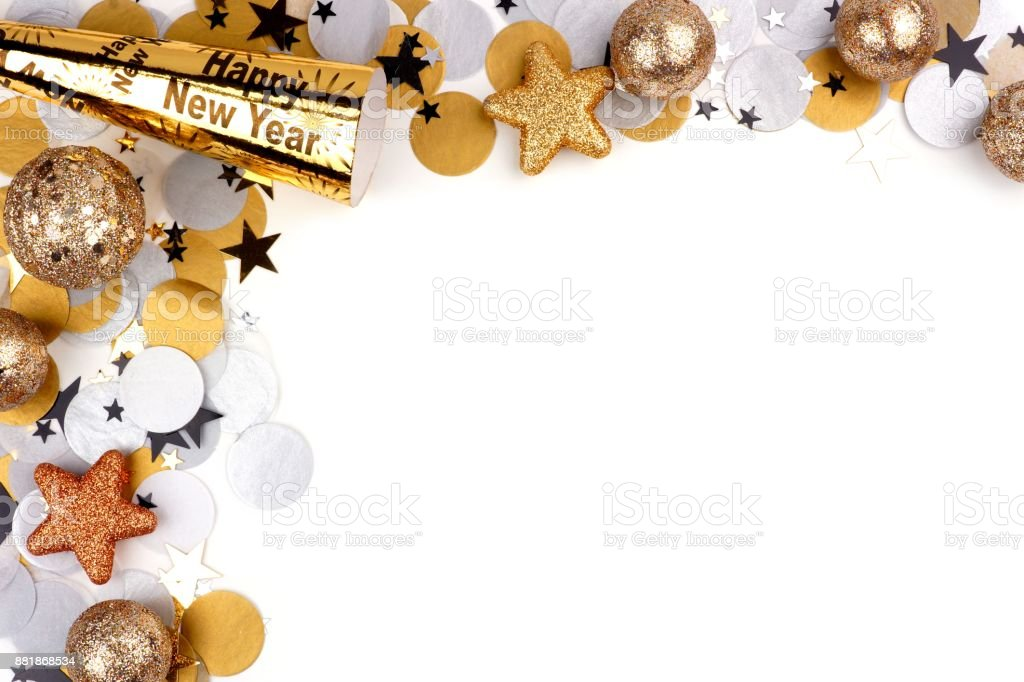 new years eve corner border of confetti and decor isolated on white royalty free stock