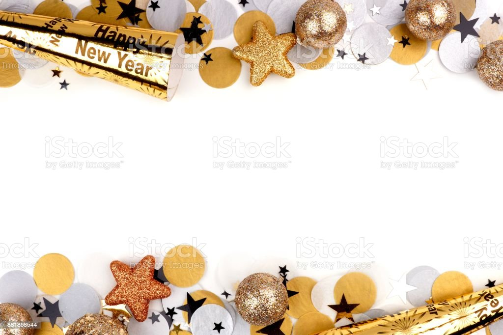 New Years Eve double border of confetti and decor isolated on white stock photo