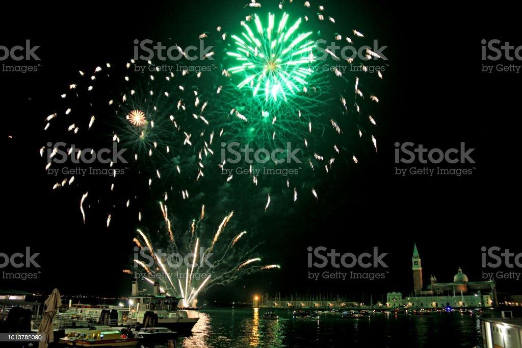 Eve Firework frais généraux nouvel an la lagune de Venise, Venise, Italie - Photo