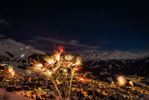 The firework display to mark the new years eve celebrations in the Swiss alps town of Verbier, famous for its ski resort and nightlife.