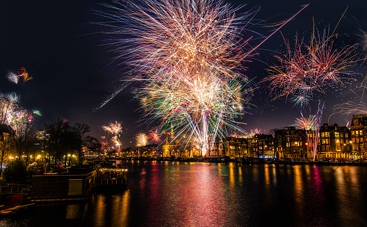 istock New Year's Eve fireworks over the Amstel River in Amsterdam, North Holland, the Netherlands 1062612054