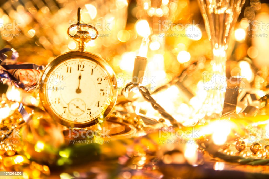 New Year\'s Eve or Christmas celebration party with champagne glasses,...