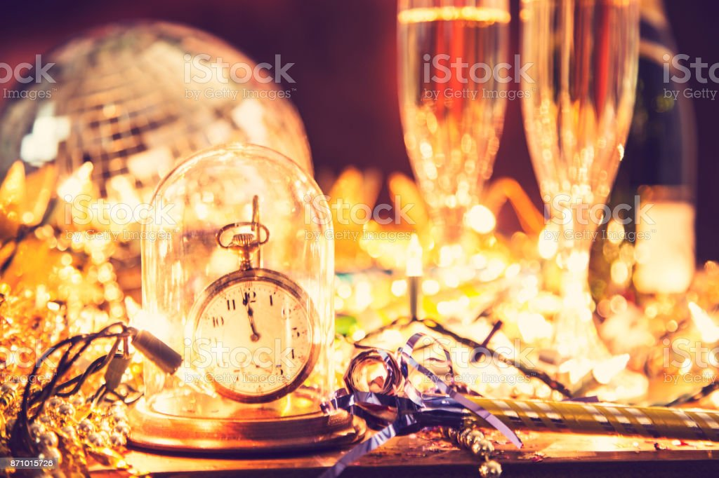 New Year\'s Eve or Christmas celebration party with champagne,...