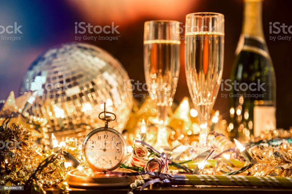 New Year's Eve holiday party, pocket watch, clock at midnight. stock photo