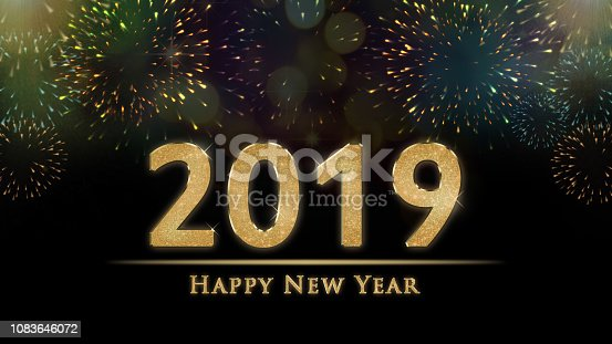 istock 2019 New Year's eve illustration, card with colorful fireworks and Happy New Year text on black background 1083646072