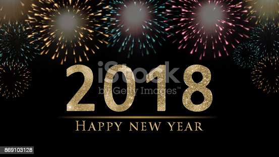 istock 2018 New Year's eve illustration, card with fireworks on black background 869103128