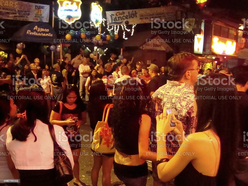 New Year's eve in Angeles City, Fields Avenue Philippines stock photo