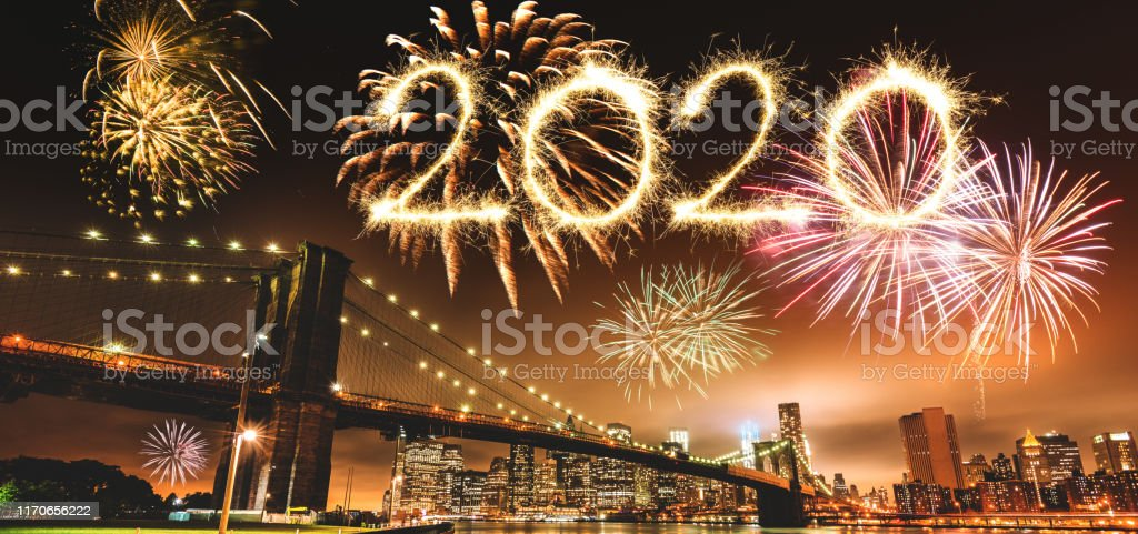 new year\'s eve in manhattan city with the fireworks