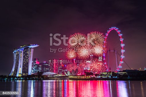 Marina Bay, Singapore - Jamuary 01, 2016: Fireworks at the Marina Bay area in Singapore to celebrate the New Year.