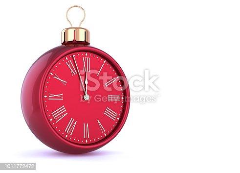 1166618641 istock photo New Year's Eve last hour countdown Christmas ball clock 1011772472