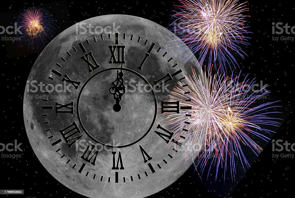 Víspera de Año Nuevo de luna foto de stock libre de derechos