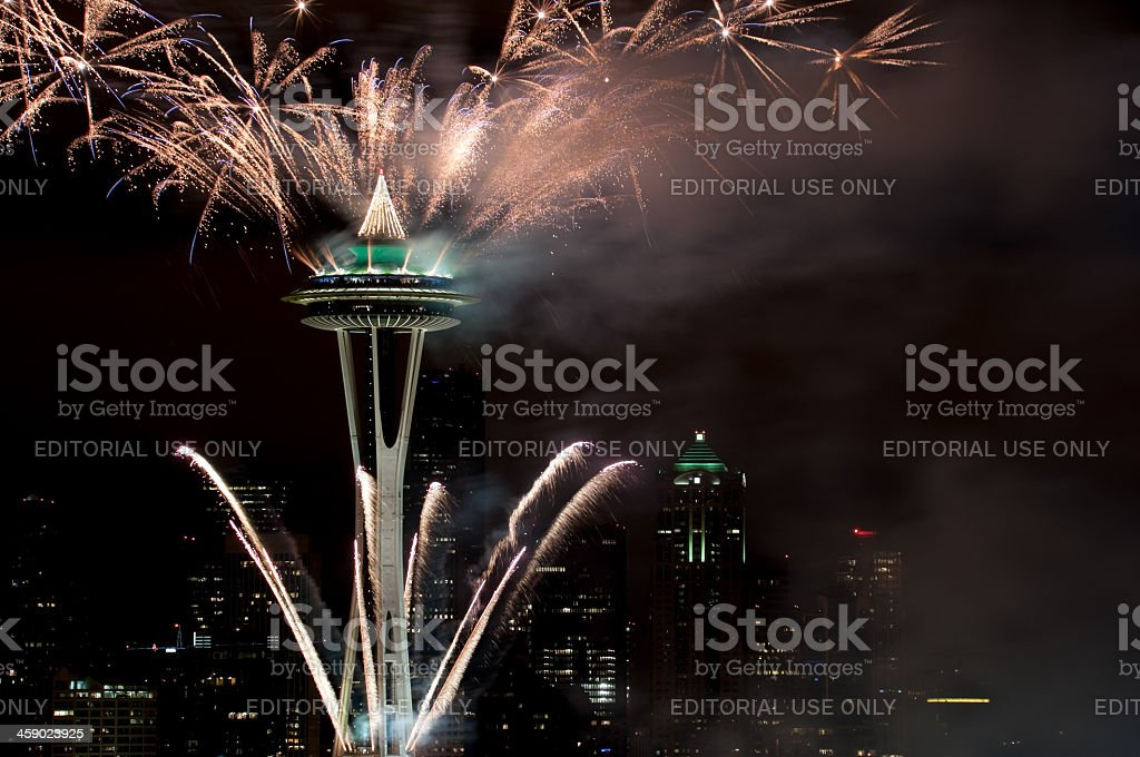 New Years Eve over Seattle royalty-free stock photo
