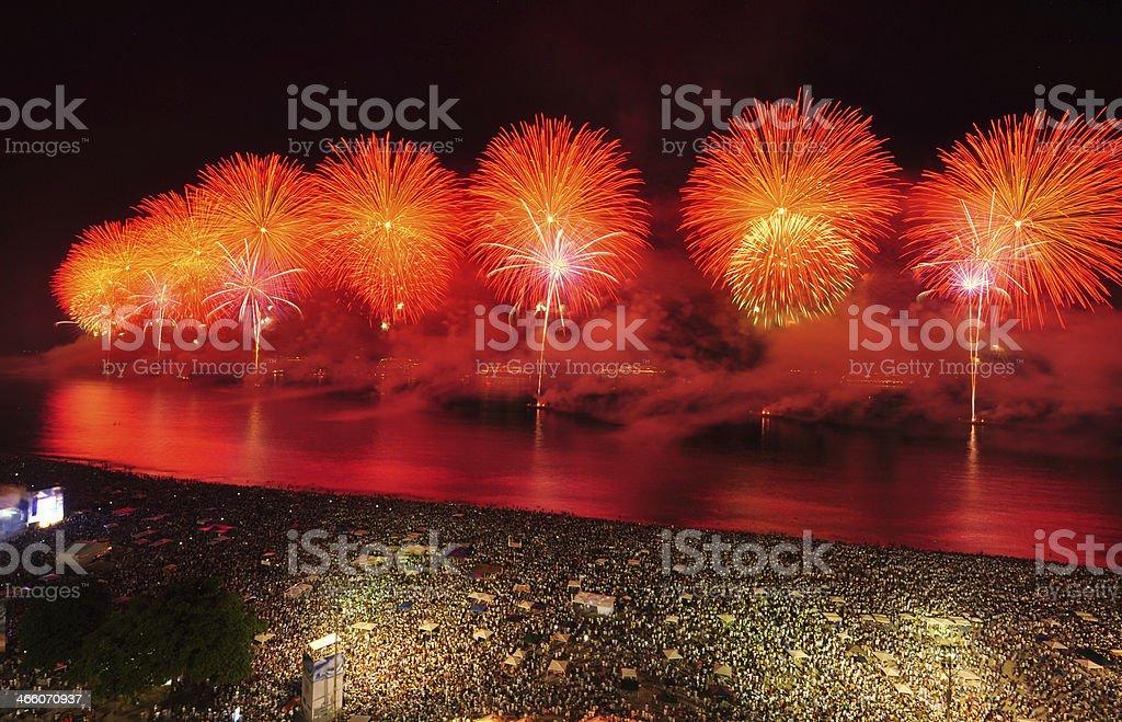 New Year´s Eve Party on Copacabana Beach stock photo