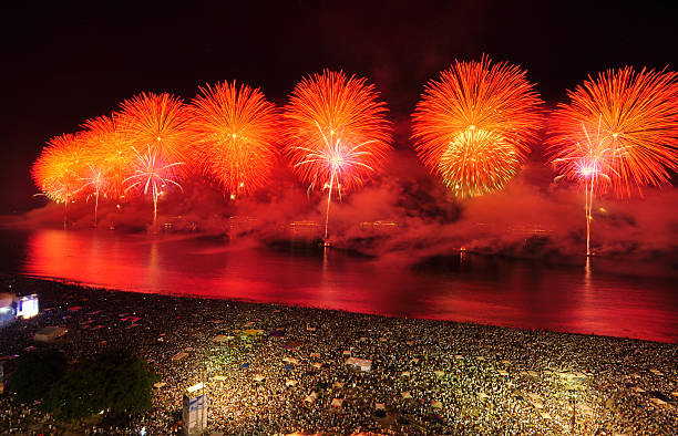 New Year´s Eve Party on Copacabana Beach stock photo