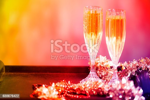 istock New Year's Eve party with decorations, champagne. 635676422