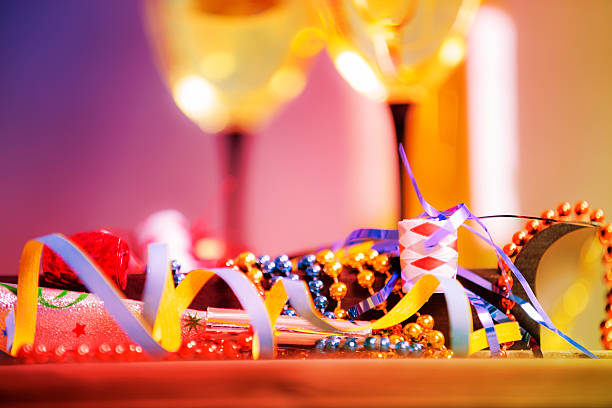 New Year's Eve party with decorations, wine. stock photo