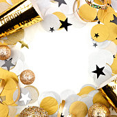 istock New Years Eve square frame of confetti and decor isolated on white 1069418996