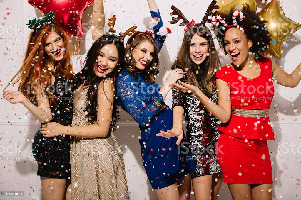 New Year's eve with girls. stock photo