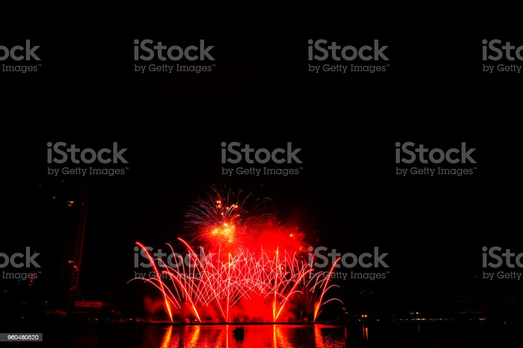 New Year's fireworks against the sky stock photo
