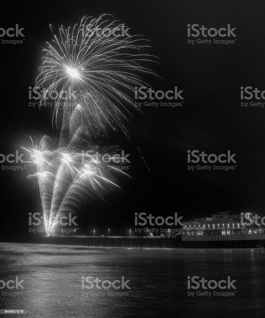New Years Fireworks at Daytona Beach, Florida stock photo