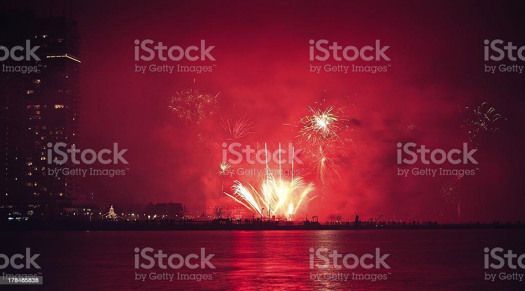 Silvester Feuerwerk in Lübeck Travemünde Lizenzfreies stock-foto