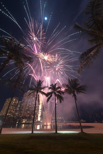 New Year's Eve fireworks framed by palm trees on Waikiki Beach in Honolulu, Hawaii