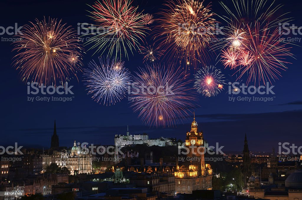 New Years fireworks stock photo