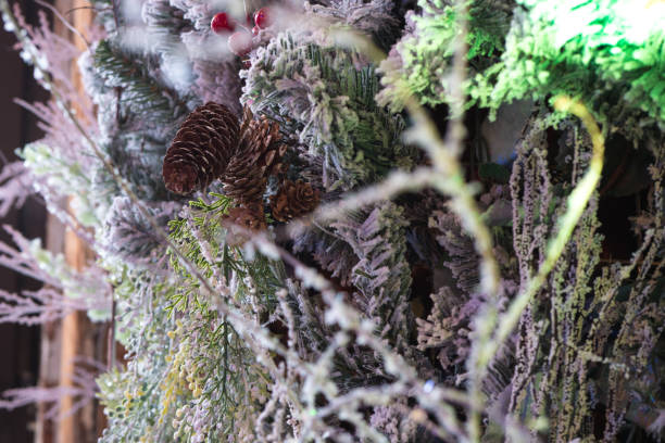 New Year's fir-tree close up. New Year's background. stock photo