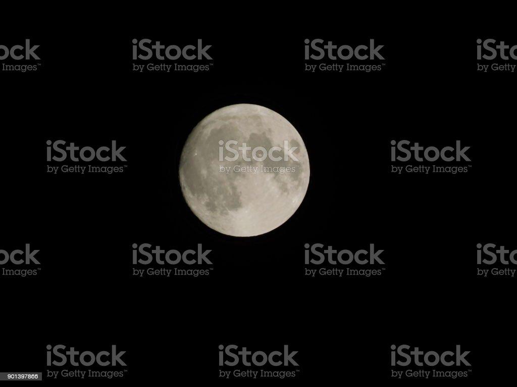2017/2018 New Year's Full Wolf Moon stock photo