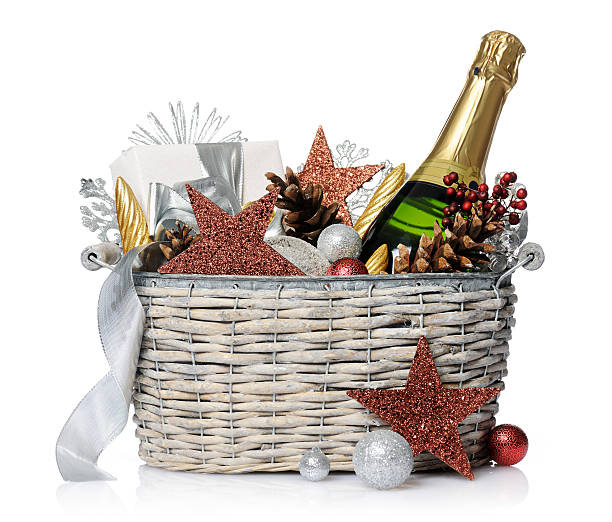New year's gift New year's gift on  white background basket stock pictures, royalty-free photos & images